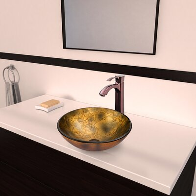 Copper Shapes Glass Circular Vessel Bathroom Sink
