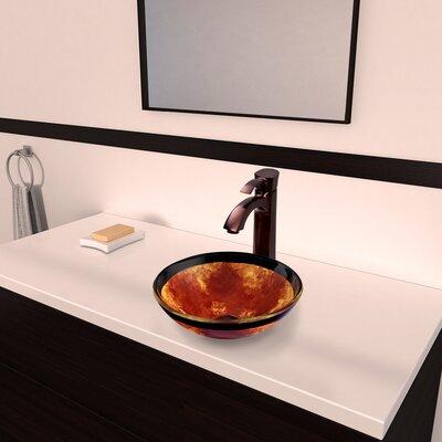 Auburn/Mocha Fusion Glass Circular Vessel Bathroom Sink