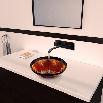 Auburn/Mocha Fusion Glass Circular Vessel Bathroom Sink