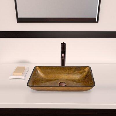 Copper Glass Rectangular Vessel Bathroom Sink