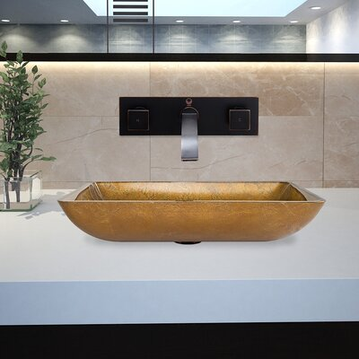 Copper Glass Rectangular Vessel Bathroom Sink