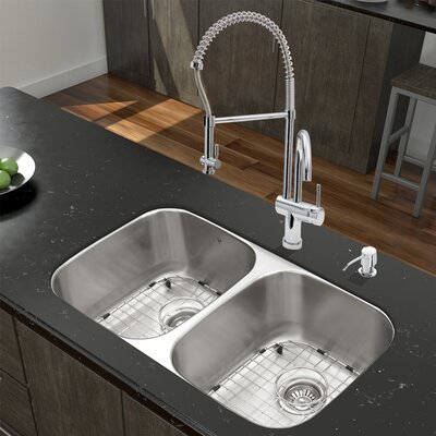 32 inch Undermount 50/50 Double Bowl 18 Gauge Stainless Steel Kitchen Sink with Dresden Chrome Faucet, Two Grids, Two Strainers and Soap Dispenser