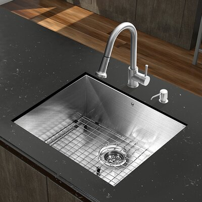 23 inch Undermount Single Bowl 16 Gauge Stainless Steel Kitchen Sink with Harrison Chrome Faucet, Grid, Strainer and Soap Dispenser Faucet Finish: Stainless Steel