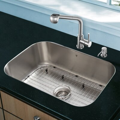 23 inch Undermount Single Bowl 18 Gauge Stainless Steel Kitchen Sink with Avondale Stainless Steel Faucet, Grid, Strainer and Soap Dispenser