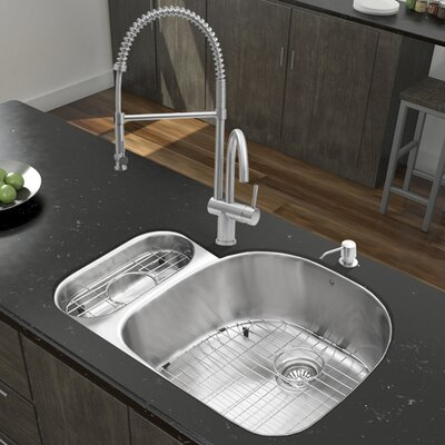 32 x 21 Double Basin Undermount Kitchen Sink with Faucet, Grid, Strainer and Soap Dispenser