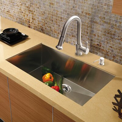 30 inch Undermount Single Bowl 16 Gauge Stainless Steel Kitchen Sink with Harrison Stainless Steel Faucet, Grid, Strainer and Soap Dispenser
