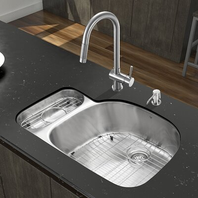 32 inch Undermount 80/20 Double Bowl 18 Gauge Stainless Steel Kitchen Sink with Gramercy Stainless Steel Faucet, Grid, Two Strainers and Soap Dispenser