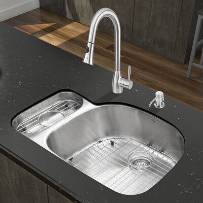 32 inch Undermount 80/20 Double Bowl 18 Gauge Stainless Steel Kitchen Sink with Aylesbury Stainless Steel Faucet, Grid, Two Strainers and Soap Dispenser
