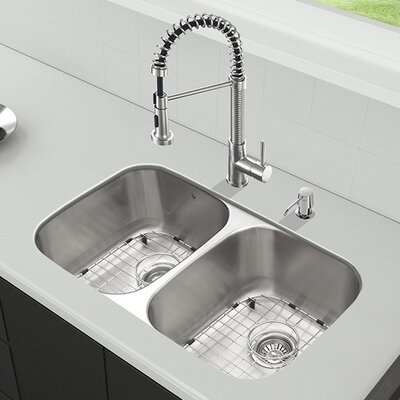 32 inch Undermount 50/50 Double Bowl 18 Gauge Stainless Steel Kitchen Sink with Edison Stainless Steel Faucet, Two Grids, Two Strainers and Soap Dispenser Finish: Stainless Steel