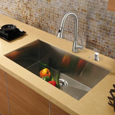 30 inch Undermount Single Bowl 16 Gauge Stainless Steel Kitchen Sink with Aylesbury Stainless Steel Faucet, Grid, Strainer and Soap Dispenser