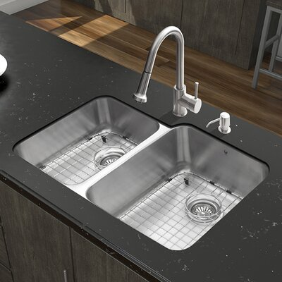 32 inch Undermount 60/40 Double Bowl 18 Gauge Stainless Steel Kitchen Sink with Harrison Stainless Steel Faucet, Two Grids, Two Strainers and Soap Dispenser
