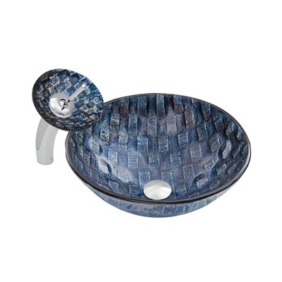 Rio Glass Circular Vessel Bathroom Sink with Faucet Faucet Finish: Chrome/Blue
