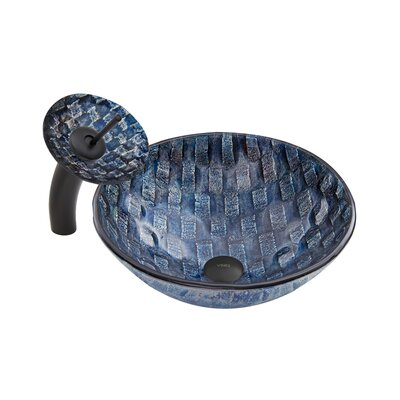 Rio Glass Circular Vessel Bathroom Sink with Faucet Faucet Finish: Matte Black/Blue