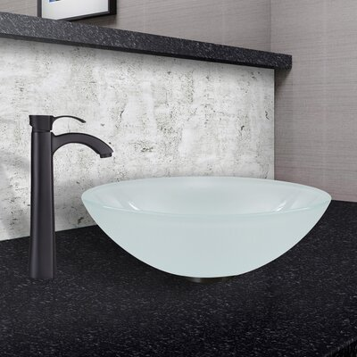 White Frost Glass Circular Vessel Bathroom Sink Sink Finish: White Frost