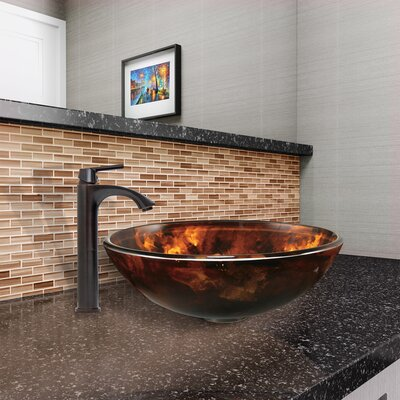 Fusion Glass Circular Vessel Bathroom Sink with Faucet
