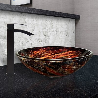 Northern Lights Glass Circular Vessel Bathroom Sink Faucet Finish: Matte Black