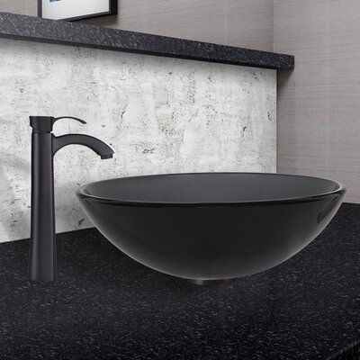 Glass Circular Vessel Bathroom Sink with Faucet Sink Finish: Sheer Black