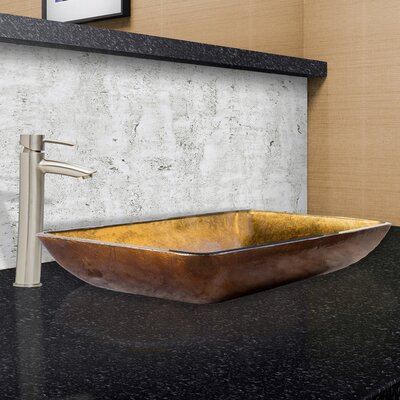 Rectangular Copper Glass Vessel Bathroom Sink
