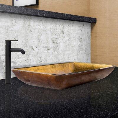 Rectangular Copper Glass Vessel Bathroom Sink