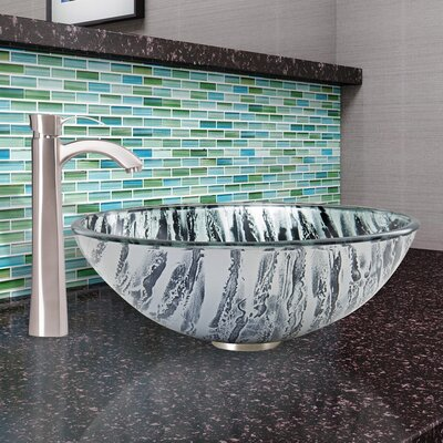 Rising Moon Glass Circular Vessel Bathroom Sink