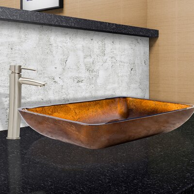 Russet Glass Rectangular Vessel Bathroom Sink