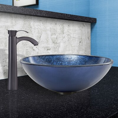 Indigo Eclipse Glass Circular Vessel Bathroom Sink