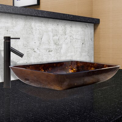 Brown and Gold Fusion Glass Rectangular Vessel Bathroom Sink Faucet Finish: Antique Rubbed Bronze