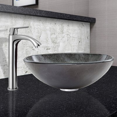 Gray Onyx Glass Circular Vessel Bathroom Sink with Faucet