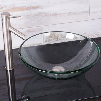 Crystalline Glass Circular Vessel Bathroom Sink