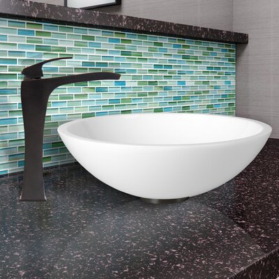 Flat Edged White Phoenix Stone Circular Vessel Bathroom Sink Faucet Finish: Antique Rubbed Bronze