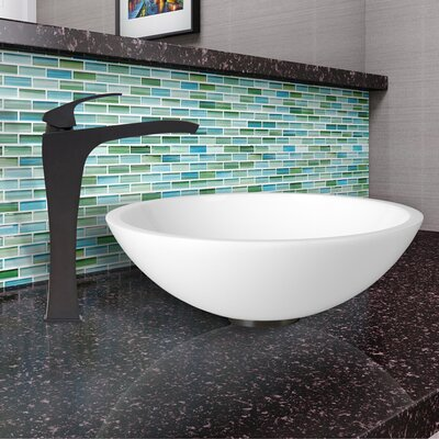 Flat Edged White Phoenix Stone Circular Vessel Bathroom Sink Faucet Finish: Matte Black