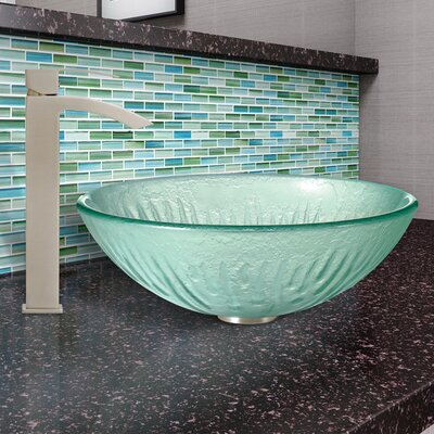 Icicles Glass Circular Vessel Bathroom Sink with Faucet