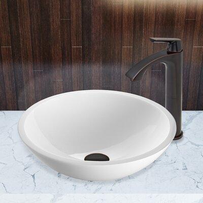 Flat Edged White Phoenix Stone Circular Vessel Sink Faucet Finish: Antique Rubbed Bronze