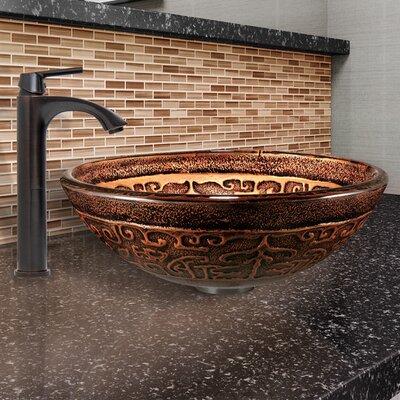 Golden Greek Glass Circular Vessel Bathroom Sink