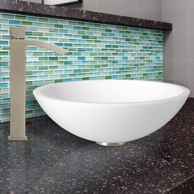 Flat Edged White Phoenix Stone Circular Vessel Sink Faucet Finish: Brushed Nickel
