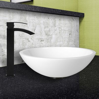 Flat Edged White Phoenix Stone Circular Vessel Sink Faucet Finish: Matte Black