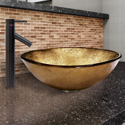 Liquid Gold Glass Circular Vessel Bathroom Sink