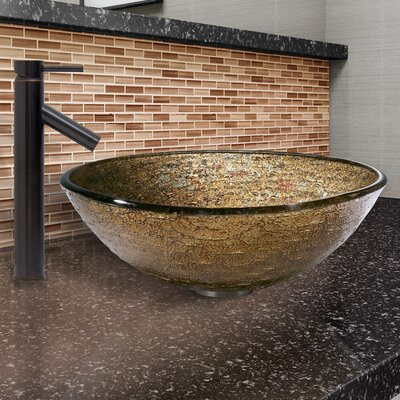 Textured Copper Glass Circular Vessel Bathroom Sink