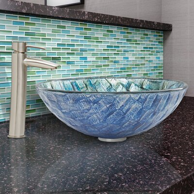 Oceania Glass Circular Vessel Bathroom Sink with Faucet