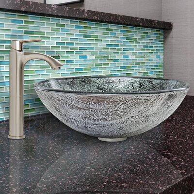 Titanium Glass Circular Vessel Bathroom Sink