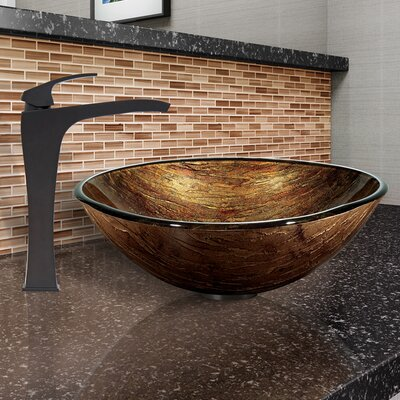 Glass Circular Vessel Bathroom Sink with Faucet Sink Finish: Antique Rubbed Bronze, Faucet Finish: Blackstonian