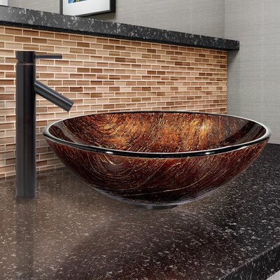Kenyan Twilight Glass Circular Vessel Bathroom Sink