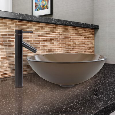 Sheer Sepia Glass Circular Vessel Bathroom Sink