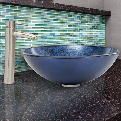 Indigo Eclipse Glass Circular Vessel Bathroom Sink