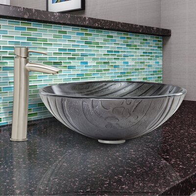 Interspace Glass Circular Vessel Bathroom Sink