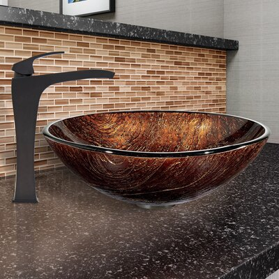 Glass Circular Vessel Bathroom Sink with Faucet Sink Finish: Kenyan Twilight, Faucet Finish: Blackstonian