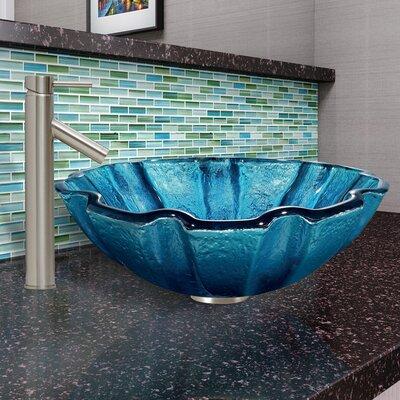 Mediterranean Seashell Circular Glass Vessel Bathroom Sink
