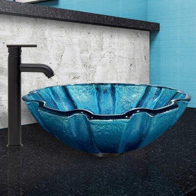 Mediterranean Seashell Glass Circular Vessel Bathroom Sink with Faucet