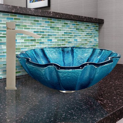 Mediterranean Seashell Circular Glass Vessel Bathroom Sink