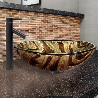 Zebra Glass Circular Vessel Bathroom Sink